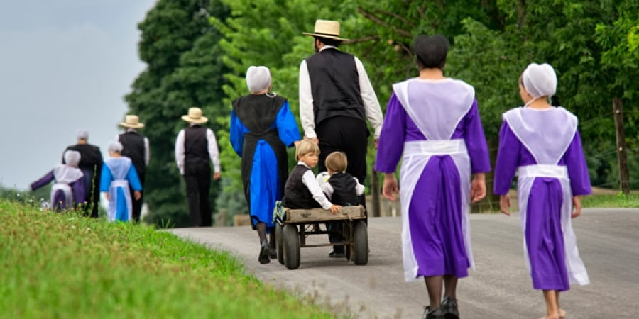 amish families walking