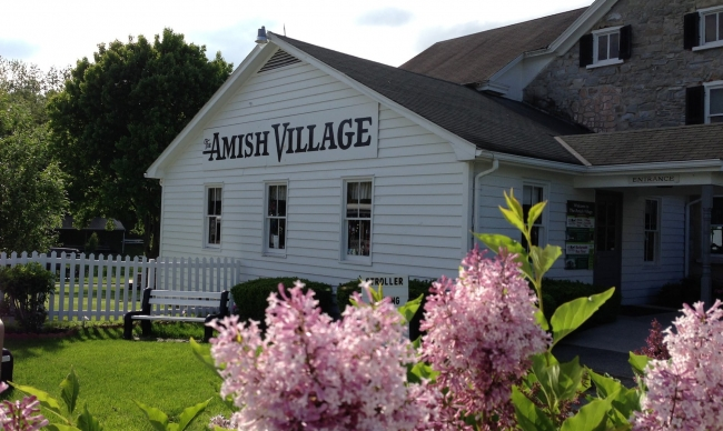 Amish house with flowers