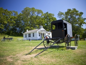 Amish buggy and schoolhouse