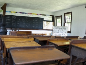 Amish school room with desks