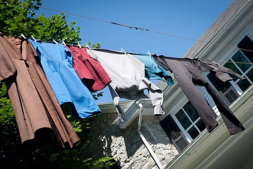 Amish clothes on clothesline