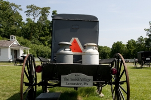 Amish buggy and milkcans