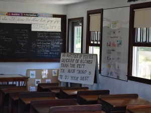 Amish school room with school work
