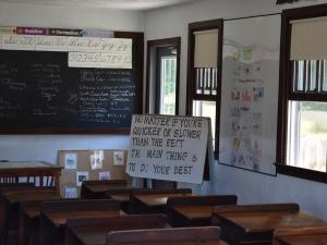 Amish school room with school work