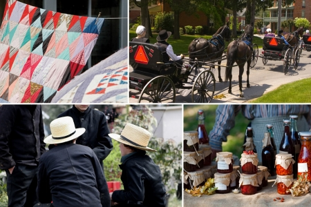 Collage of amish people making quilts, riding their buggies, socially interacting, and canning